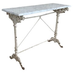 Early Metal Bistro Console Table with White Marble Top  from France, circa 1930