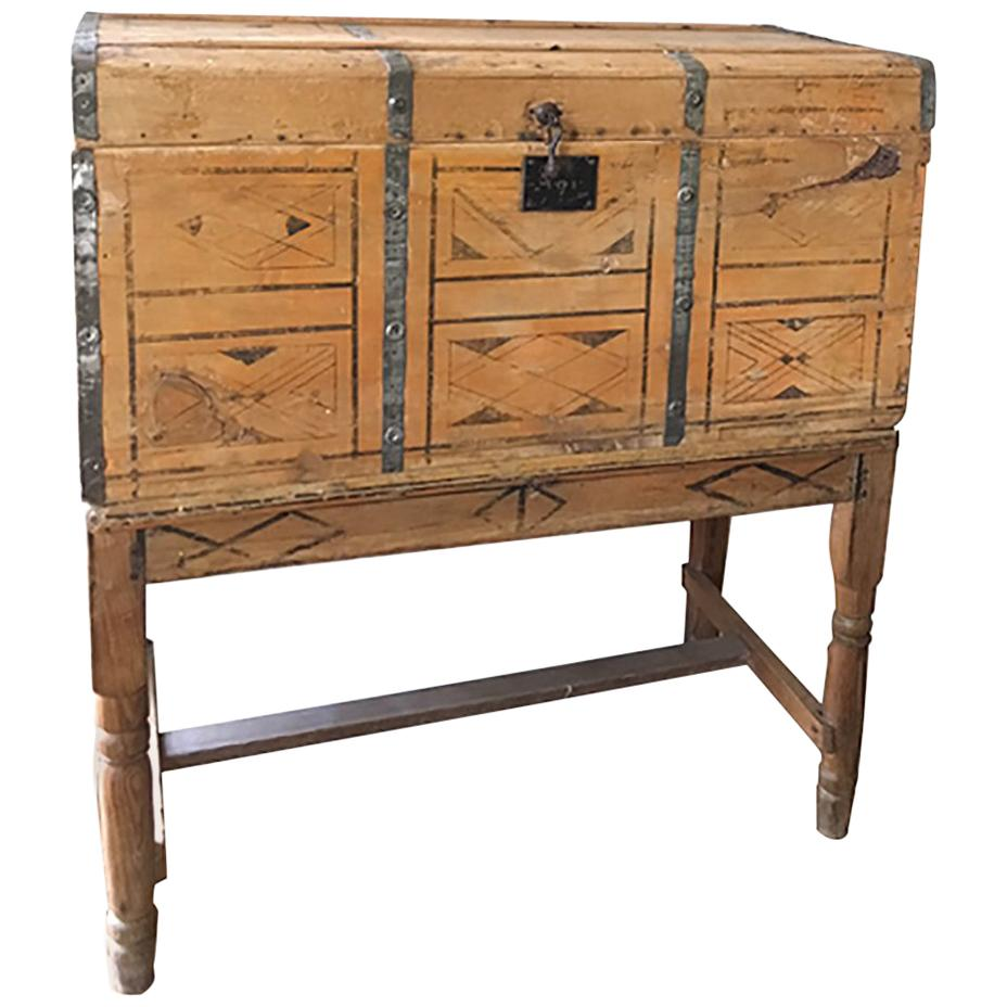 Early Mexican Hand-Painted Blanket Chest, Wedding Trunk on Base