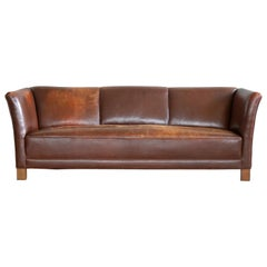 Early Midcentury Club Sofa by Fritz Hansen in Chestnut Brown Worn Leather