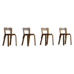 Early Mid-Century Modern Dining Chairs by Alvar Aalto for Artek, Model 65, 1950s
