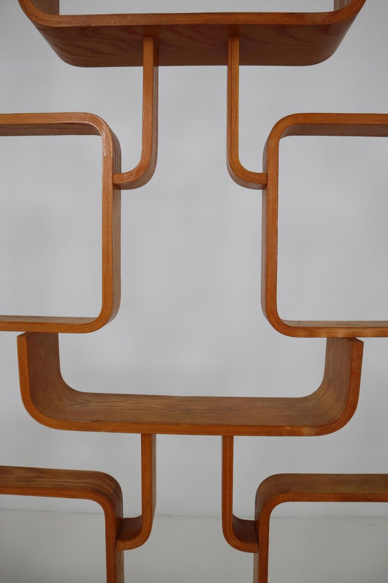 Czech Early Mid-Century Room Divider Shelves for Thonet in Bent-Wood, circa 1950s For Sale