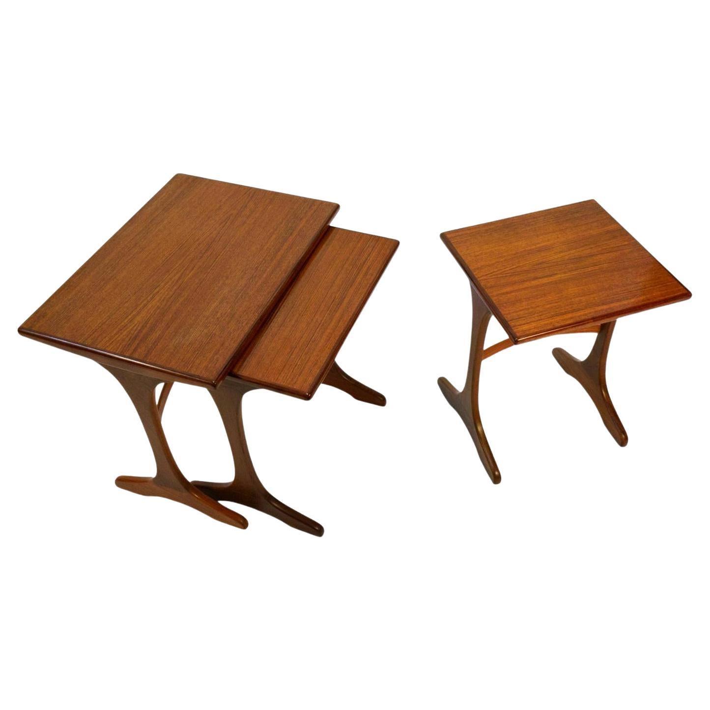 Early Mid-Century Scandinavian Modern Teak G Plan Nesting Tables Set