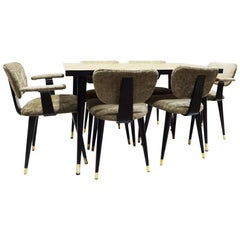 Early Midcentury Vintage Compact Italian Dining Set with 6 Butterfly Chairs