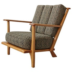Early Midcentury Craftsman Style Maple Lounge Chair by Cushman