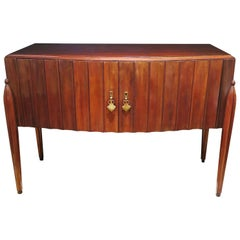 Early Midcentury Fluted Console Cabinet in Mahogany, Italy, circa 1940s