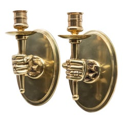 Early Midcentury Hand Holding Torch Wall Sconces