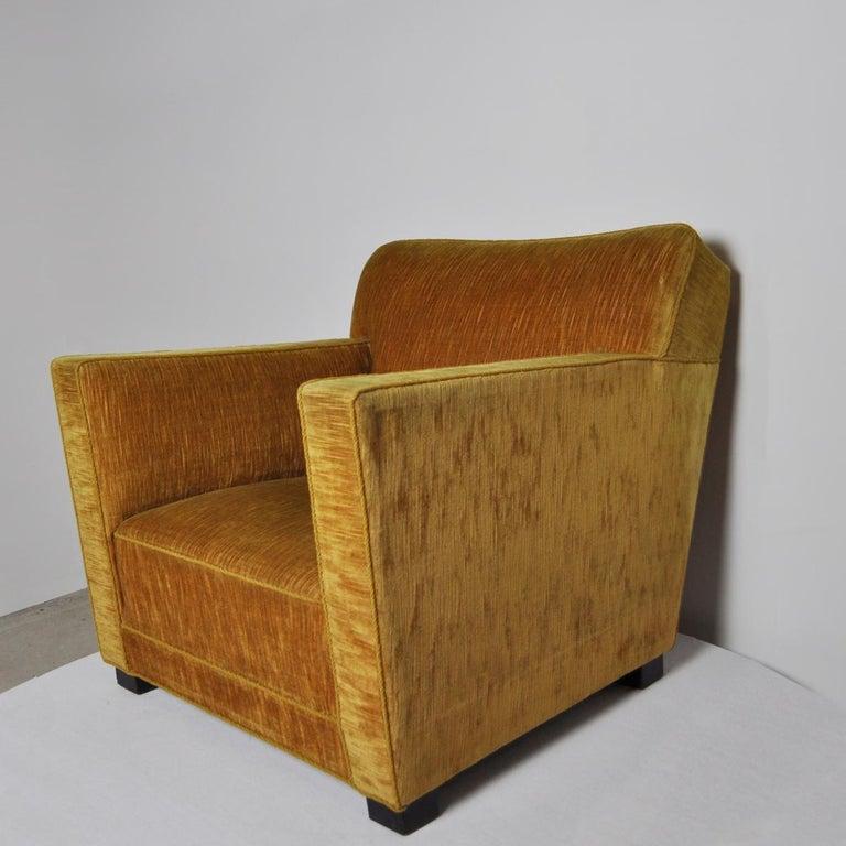 Danish Early Midcentury Lounge Chair in Original Velvet Upholstery For Sale