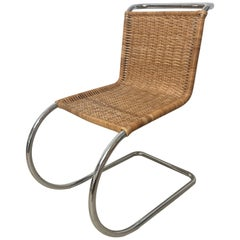 "Early Mies Van Der Rohe ""MR 10"" Chair in Wicker and Chrome Steel, Italy, 1950s"