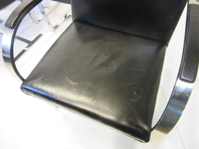 Early Mies van der Rohe Brno Leather Armchairs for Knoll For Sale 9