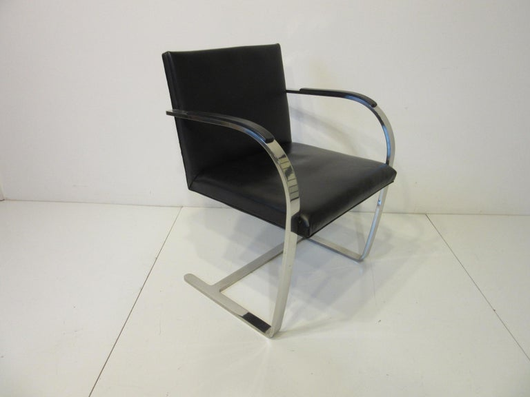 Early Mies van der Rohe Brno Leather Armchairs for Knoll For Sale 2