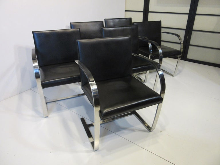 Early Mies van der Rohe Brno Leather Armchairs for Knoll For Sale 4