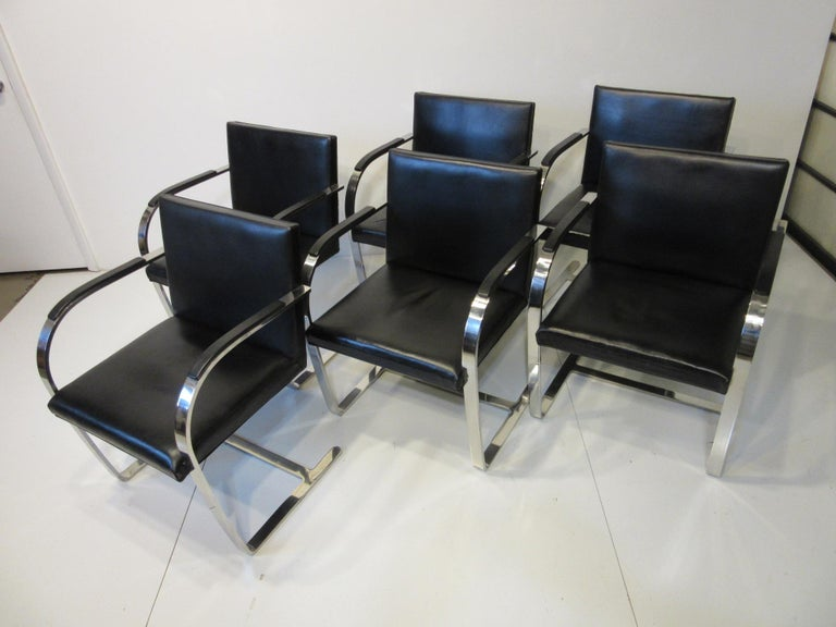 Early Mies van der Rohe Brno Leather Armchairs for Knoll For Sale 5