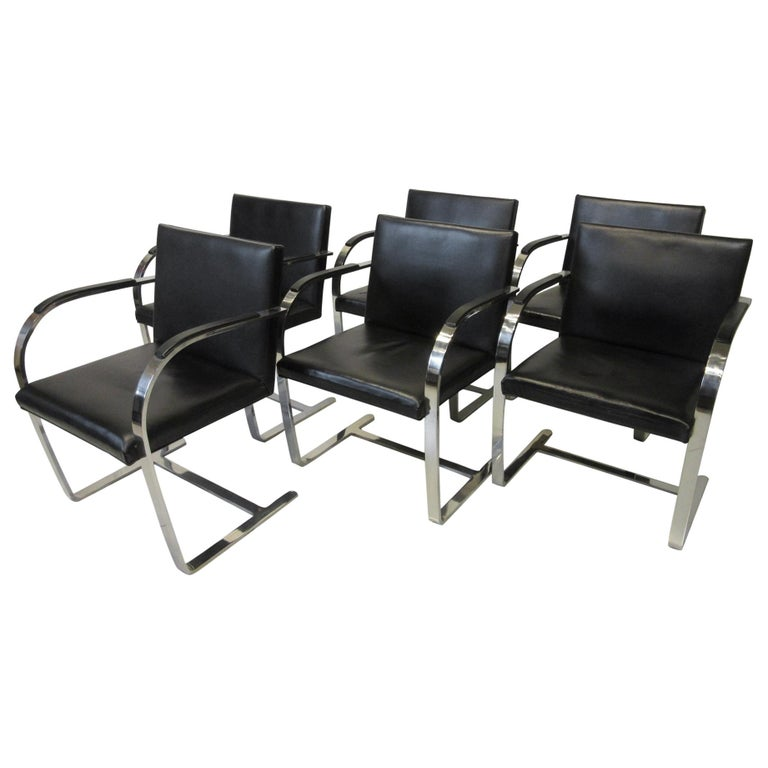 Early Mies van der Rohe Brno Leather Armchairs for Knoll For Sale
