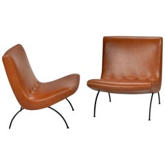 Early Milo Baughman Scoop Chairs in Leather Set of 2