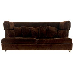 Early Milo Baughman Shelter Sofa in Chocolate Brown Velour Midcentury Mod
