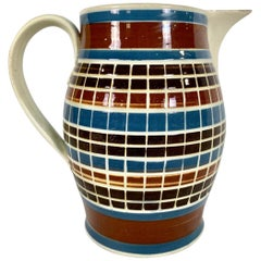 Early Mochaware Pitcher Cut Through the Colored Slip Made in England, circa 1800