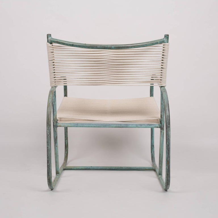 Patinated Early Model Walter Lamb Lounge Chair For Sale