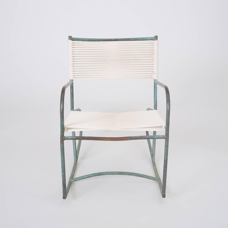 Mid-Century Modern Early Model Walter Lamb Patio Rocking Chair For Sale