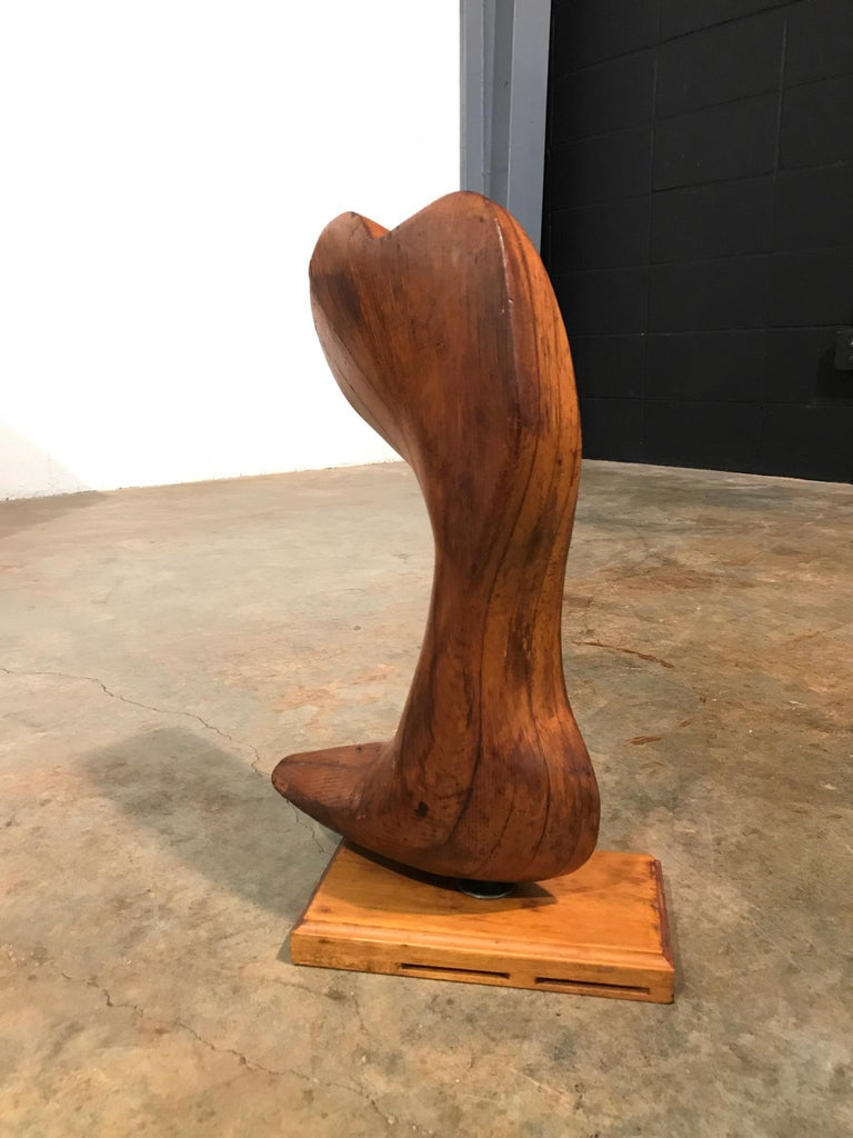 Mid-20th Century Early Modern Wood Sculpture Artist Signed L Ryan 1951, Rogue Wave, Vintage For Sale