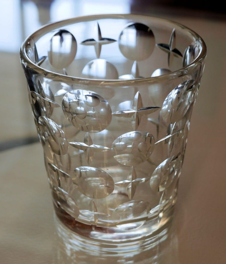 Mid-Century Modern Early Modernist Cut Crystal Ice Bucket by Orrefors For Sale