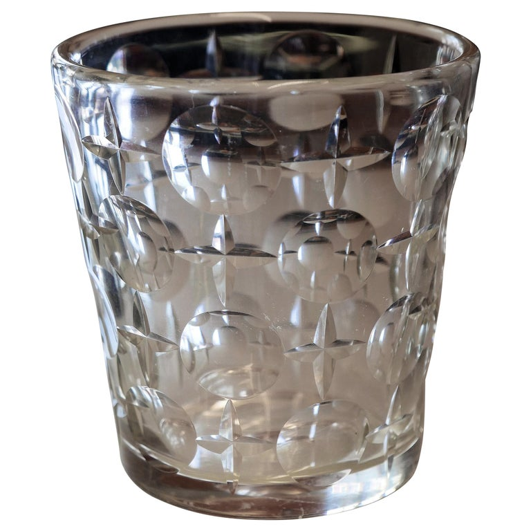 Early Modernist Cut Crystal Ice Bucket by Orrefors For Sale