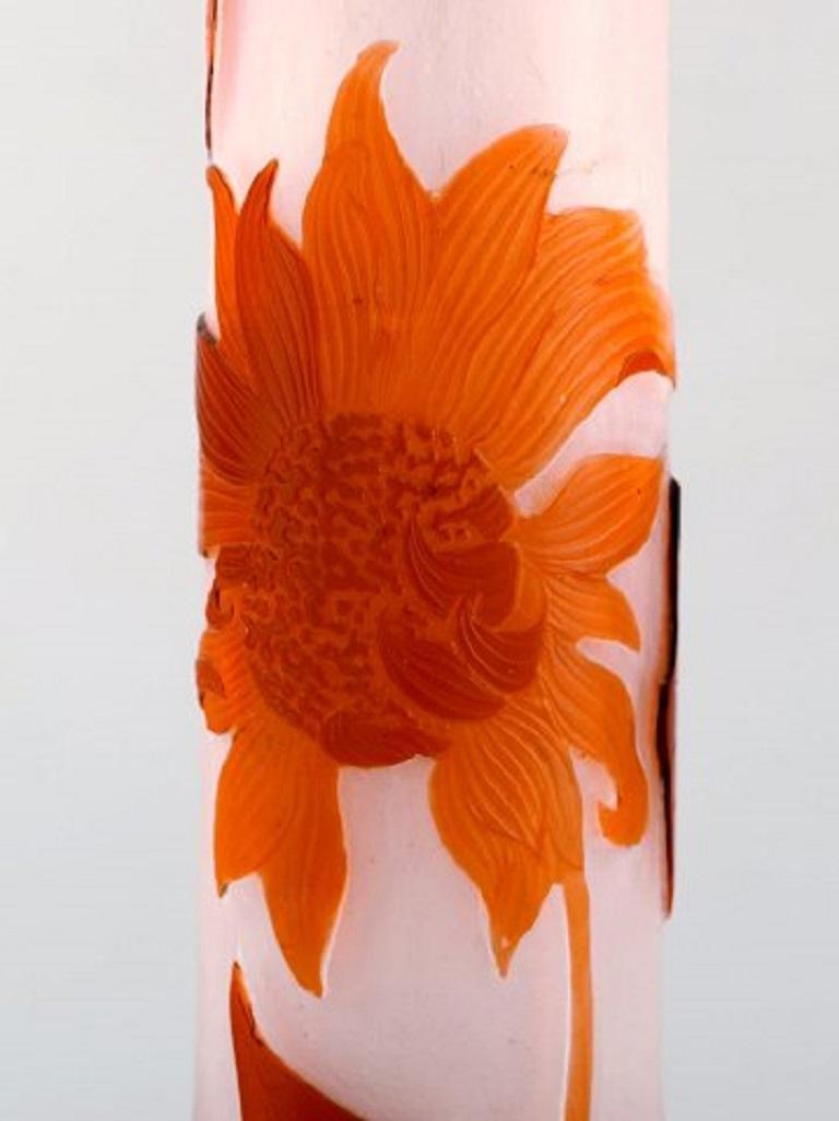 Art Glass Early, Monumental Emile Gallé Vase, 1890s For Sale