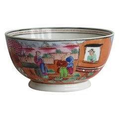 Early New Hall Porcelain Bowl with Boy in Window Pattern No. 425, circa 1800