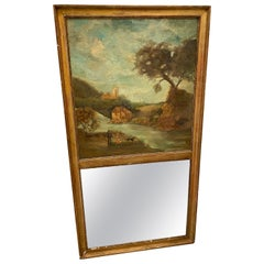 Early Nineteenth Century French Trumeau Antique Gilt Mirror Painting on Canvas