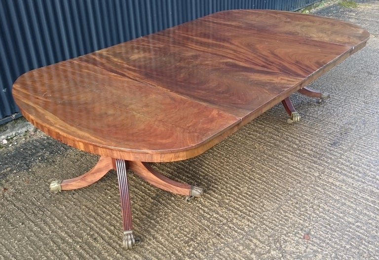 Early 19th Century Regency Mahogany Twin Pedestal Antique Dining Table For Sale 2