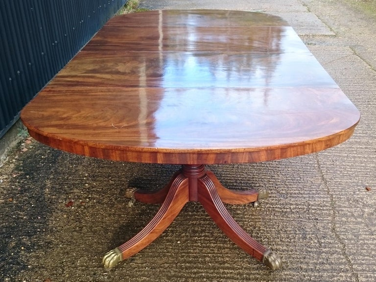 Early 19th Century Regency Mahogany Twin Pedestal Antique Dining Table For Sale 3