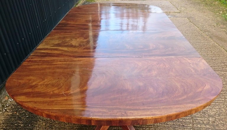 Early 19th Century Regency Mahogany Twin Pedestal Antique Dining Table For Sale 4