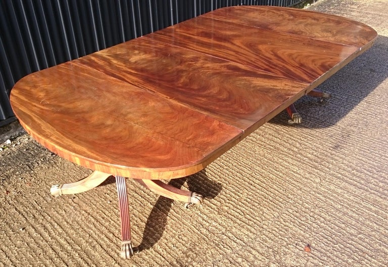 Early 19th Century Regency Mahogany Twin Pedestal Antique Dining Table For Sale 6
