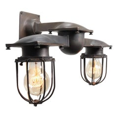 Early NYC Bronze Double Subway Sconce