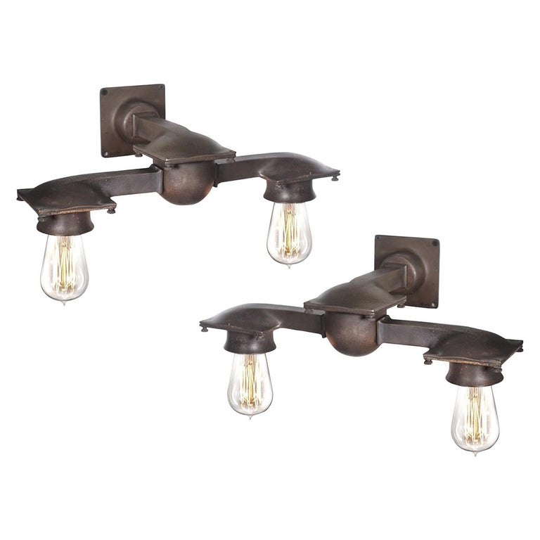 Wall Sconces Nyc: Early NYC Bronze Double Subway Sconces For Sale At 1stdibs