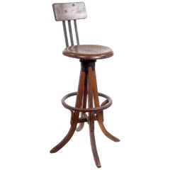 Early Oak Artists Drafting Table Stool