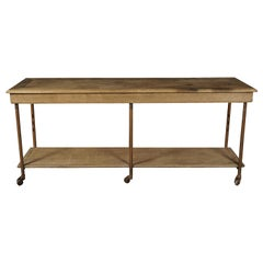 Early Oak Haberdashery Console Table from France, circa 1900