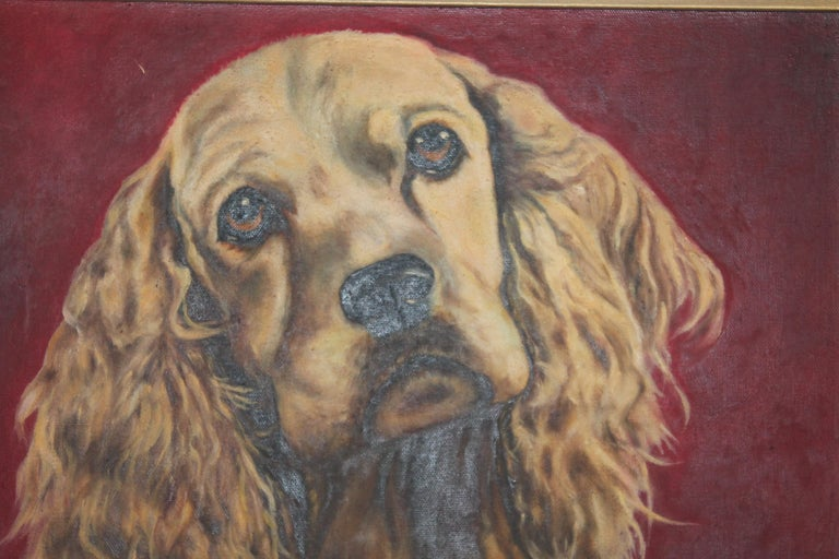 Adirondack Early Oil Painting of a Dog in Original Frame For Sale