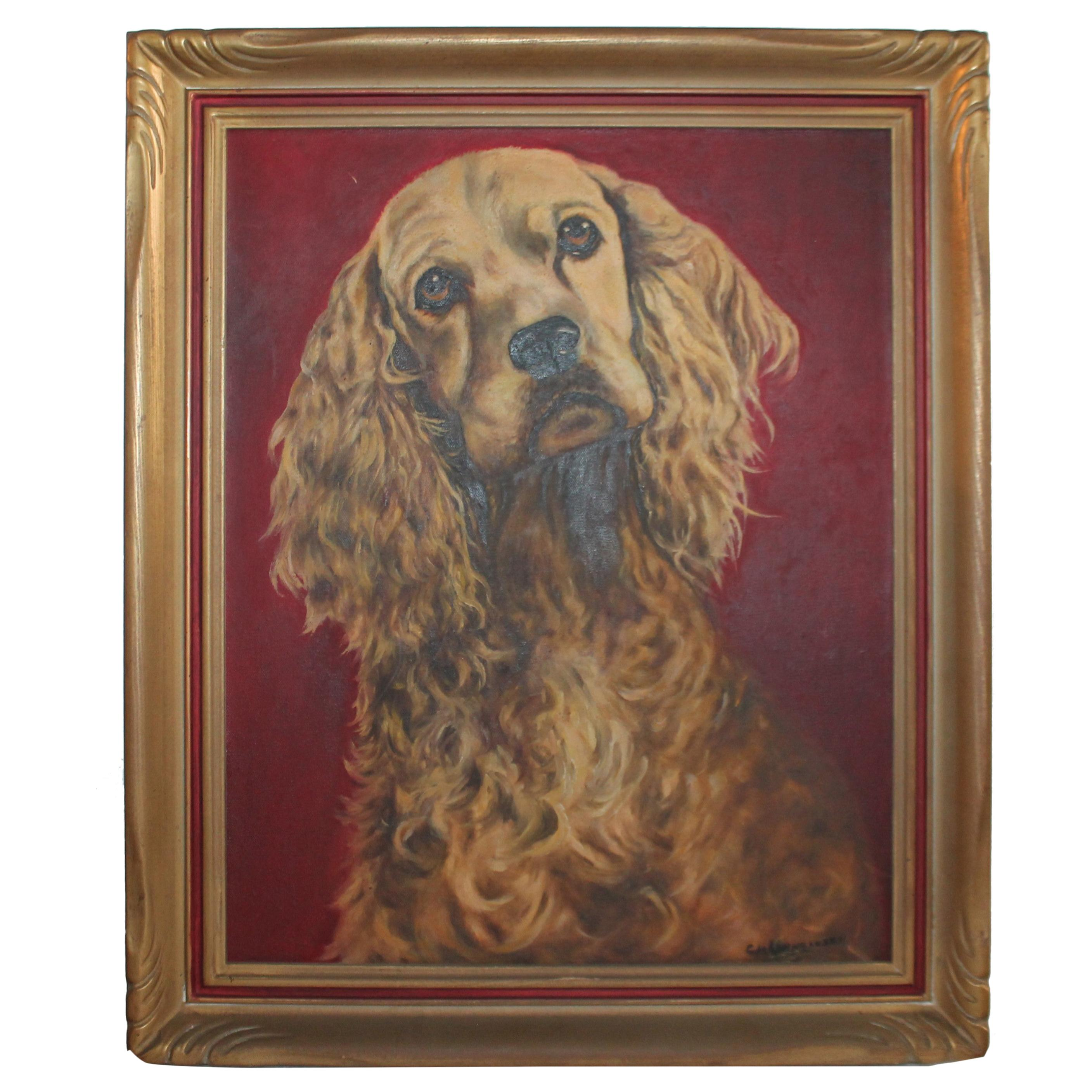 Early Oil Painting of a Dog in Original Frame