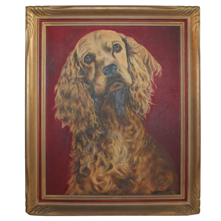 Early Oil Painting of a Dog in Original Frame For Sale