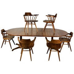 Early One of a Kind George Nakashima Dining Set with Six Captain Chairs USA 1966