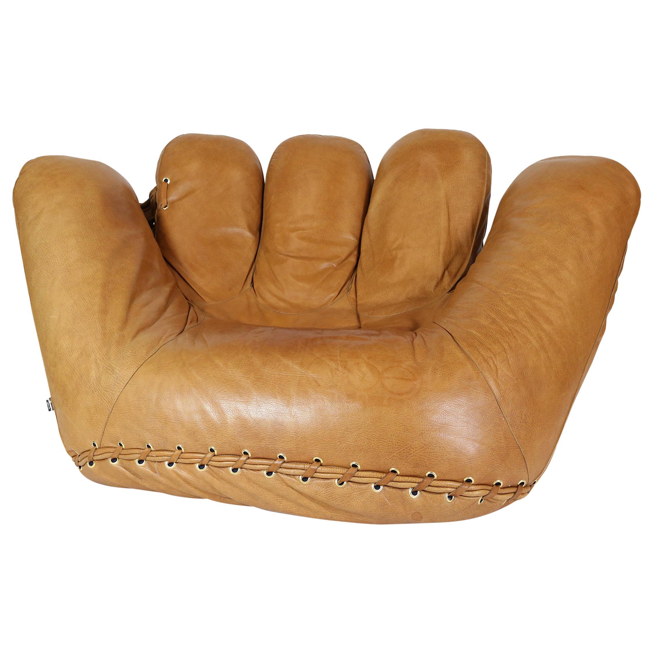 Early Original Cognac Leather 'Joe' Chair, De Pas -D-Urbino for Poltronova 1970s