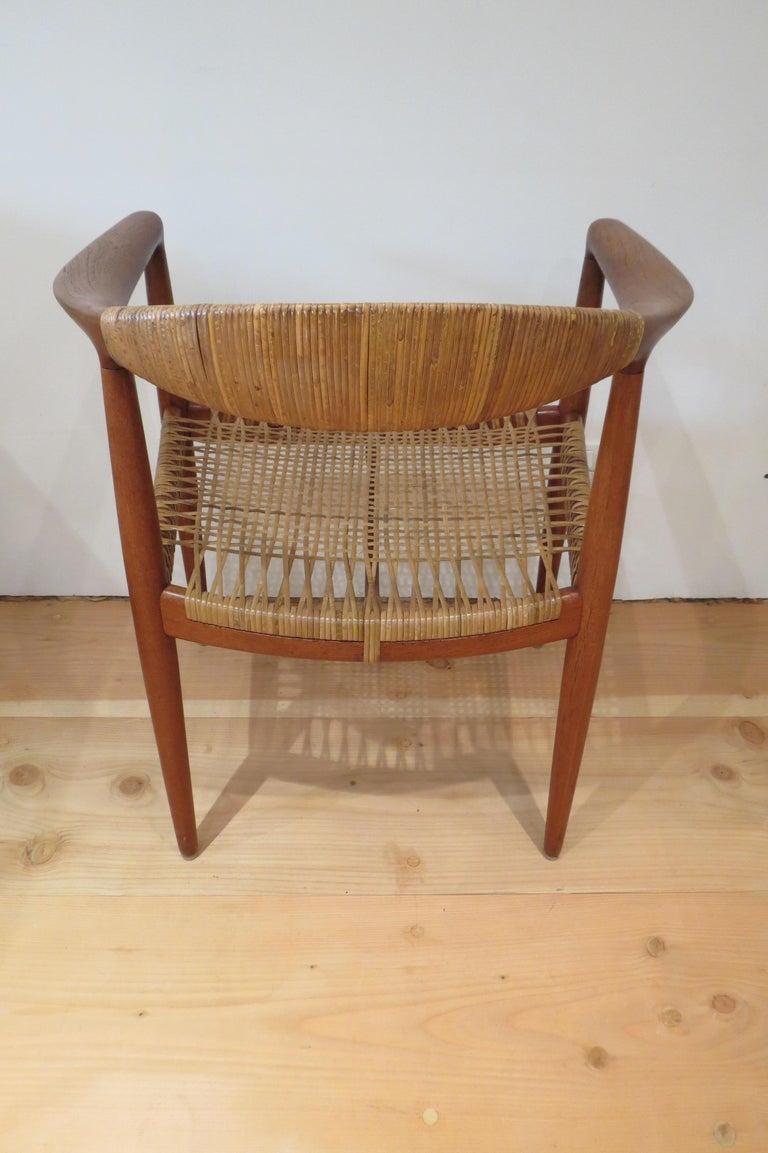 Rattan Early Original JH501 Chair by Hans J Wegner for Johannes Hansen in Teak, 1950 For Sale