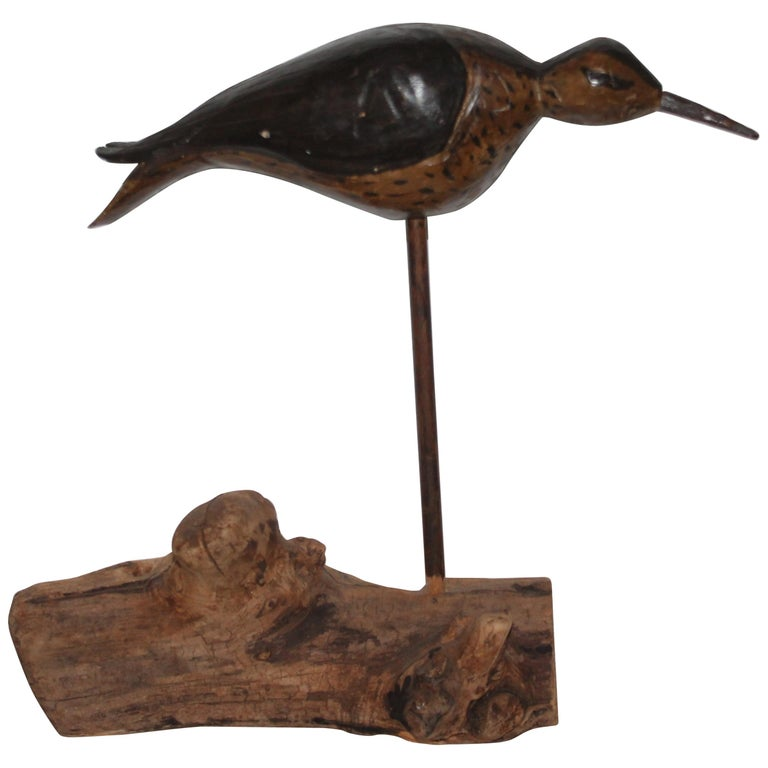 Early Original Painted Shore Bird on Wood Base For Sale