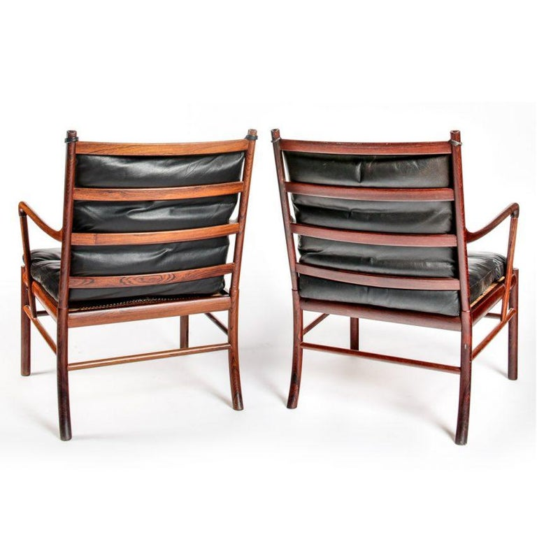 Scandinavian Modern Early Original Pair of Ole Wanscher Colonial Chairs PJ-149 Rosewood For Sale