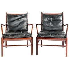 Early Original Pair of Ole Wanscher Colonial Chairs PJ-149 Rosewood