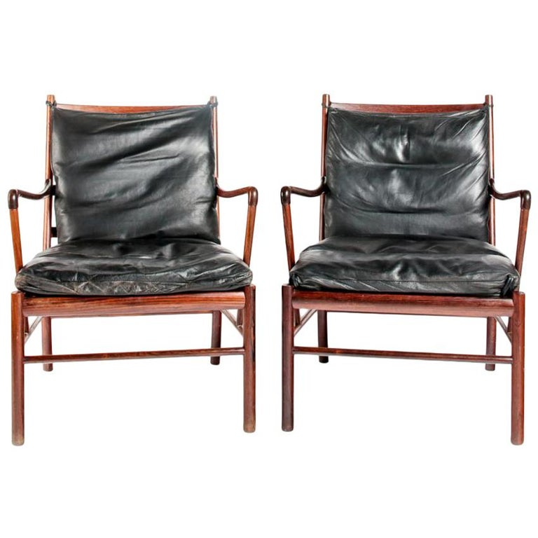 Early Original Pair of Ole Wanscher Colonial Chairs PJ-149 Rosewood For Sale