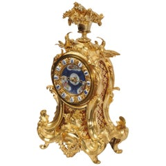 Early Ormolu Bronze Antique French Rococo Clock by Lerolle, Paris