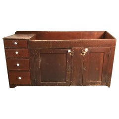 Early Painted Primitive Pine Dry Sink, 1830s