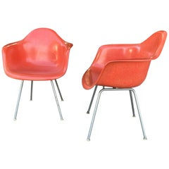 "Early Pair of Charles Eames Fiberglass Arm Shell Chairs ""Crimson"" Herman Miller"