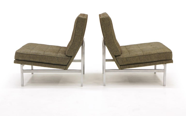 American Early Pair of Florence Knoll Armless Slipper Lounge Chairs, Excellent Condition For Sale